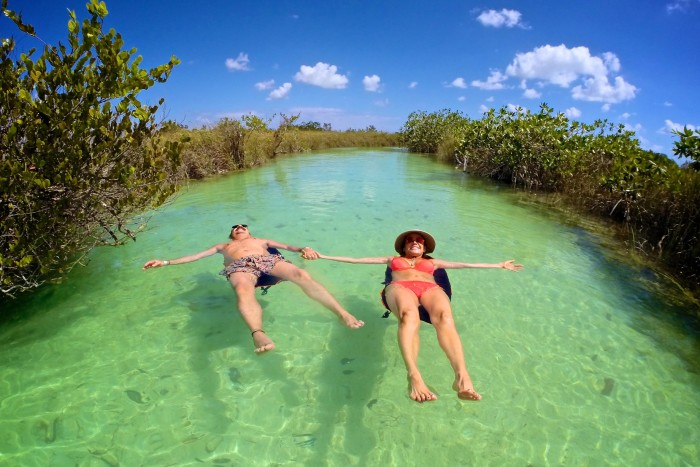 Floating on a Mayan canal. Sian Ka'an Biosphere, Yucatan, Mexico.